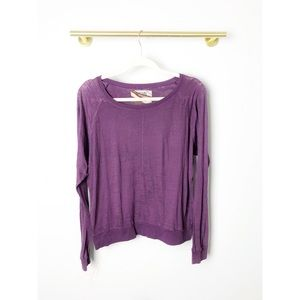 Nation LTD | Purple Raglan Sleeve Slub Knit Top